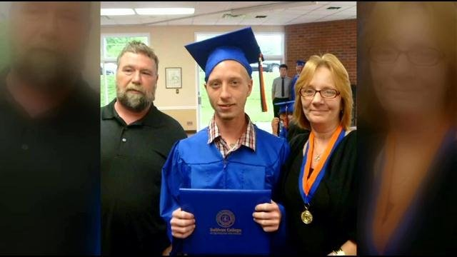 Dressed in a blue cap and gown, Marcus Miller Jr. smiled for photos as he accepted his diploma from Sullivan College.