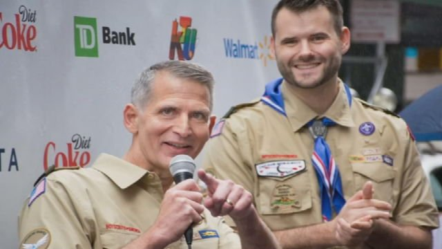 Greg Bourke (Left) has been involved in his son's Boy Scout Troop for about 11 years.