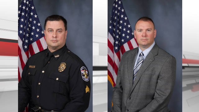 Officer Jason Poston (Left) and Officer John White (Right) were identified as the officers shot shot a suspect police say had a knife Wednesday night, Aug. 5, 2015.