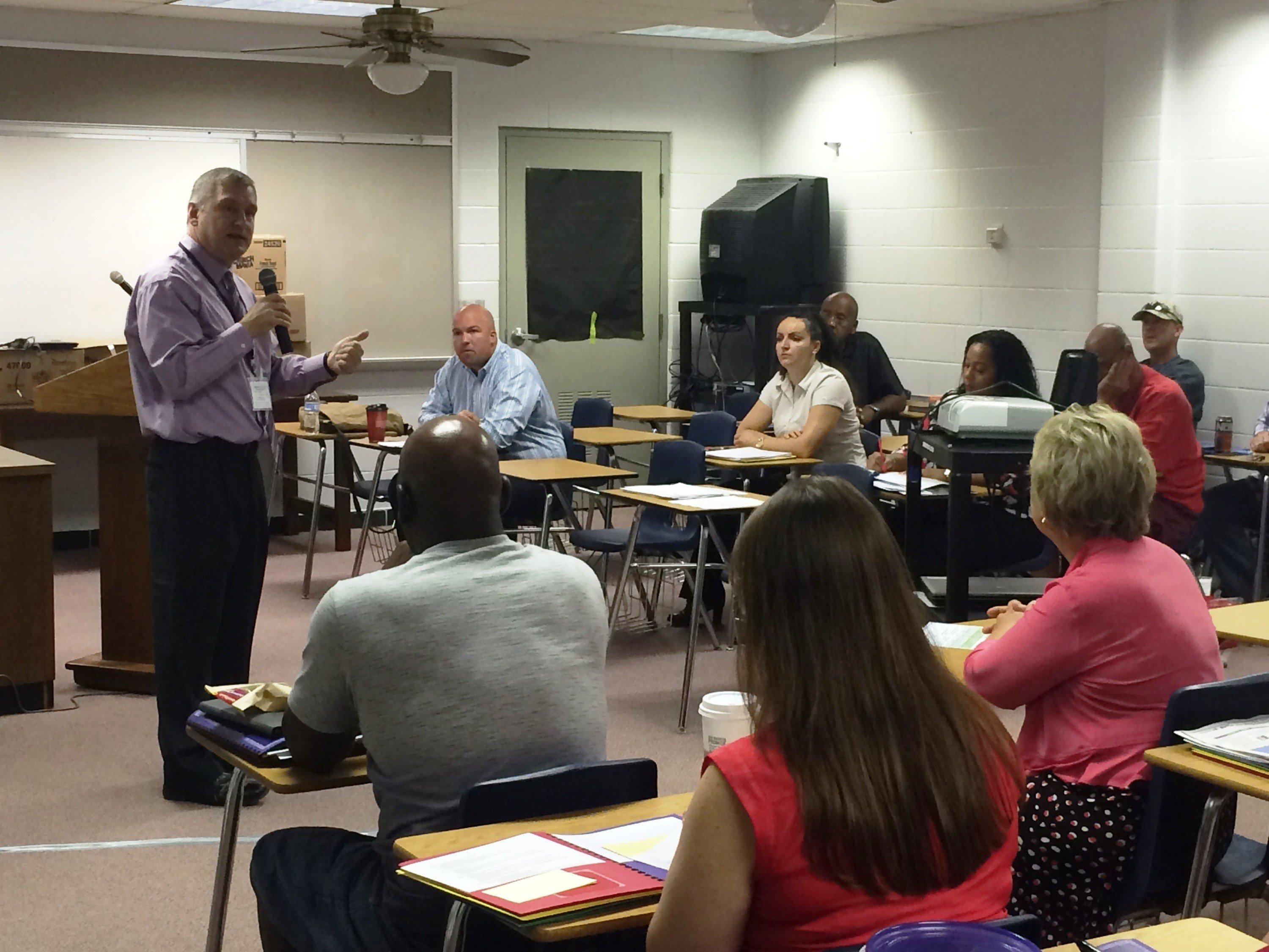 JCPS chief academic officer Dewey Hensley addresses teachers at the new Minor Daniels Academy earlier this month (Photo by Toni Konz, WDRB News)