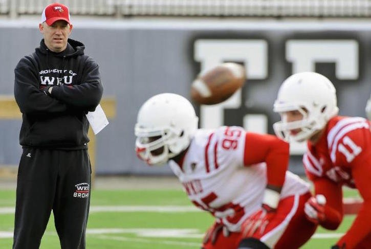 WKU head coach Jeff Brohm watches over practice at Houchens-Smith Stadium, in Bowling Green, Ky. (AP Photo/Daily News, Alex Slitz)