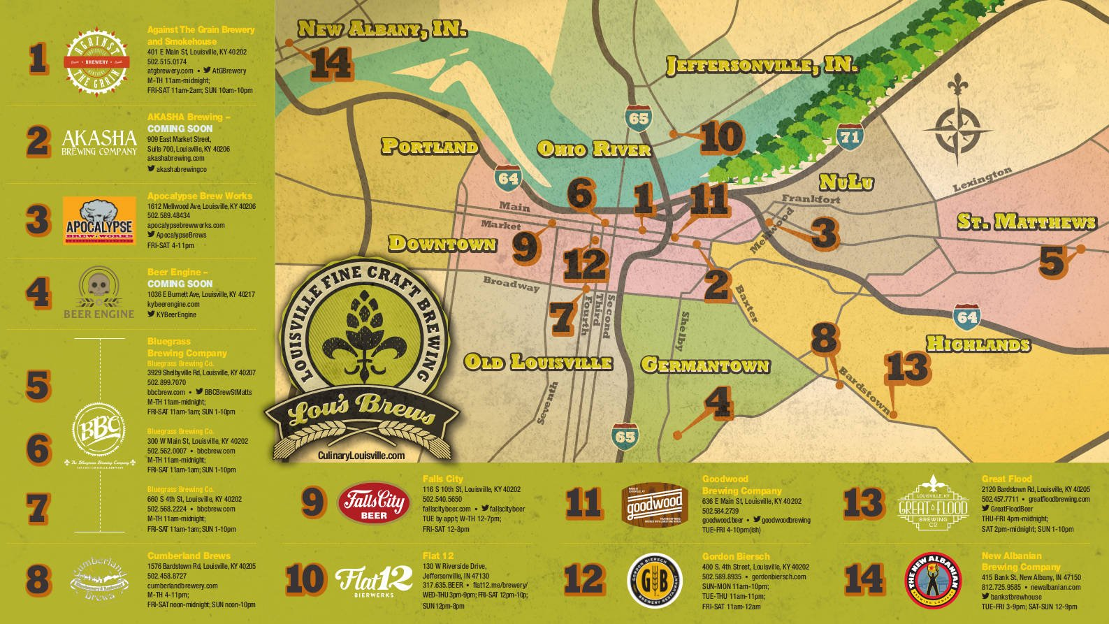 """A map of """"Lou's Brews,"""" a trail that highlights the local beer scene in Louisville and southern Indiana."""