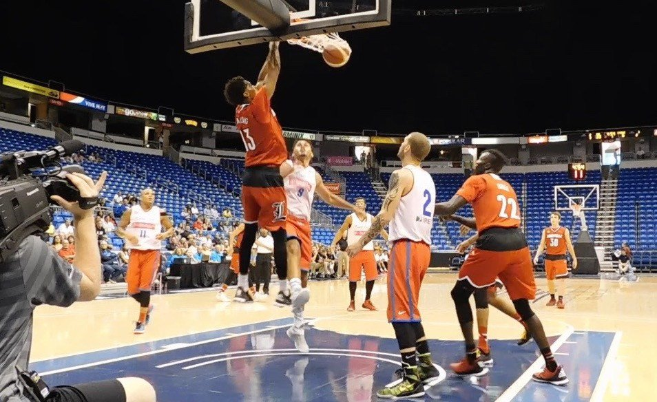 Louisville freshman Raymond Spalding with a first-half follow slam. (WDRB photo by Eric Crawford)