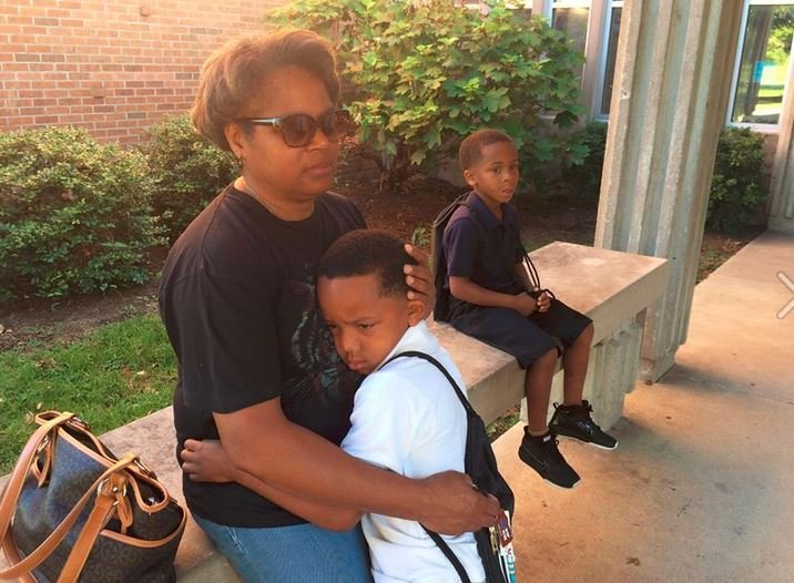 Third grader Jahara Pardue wasn't so sure about the first day of school at Slaughter Elementary (Photo by Toni Konz, WDRB News)