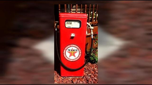 The family has avast collection of Texaco gas pumps and other antiques, but this wasn't just any gas pump.