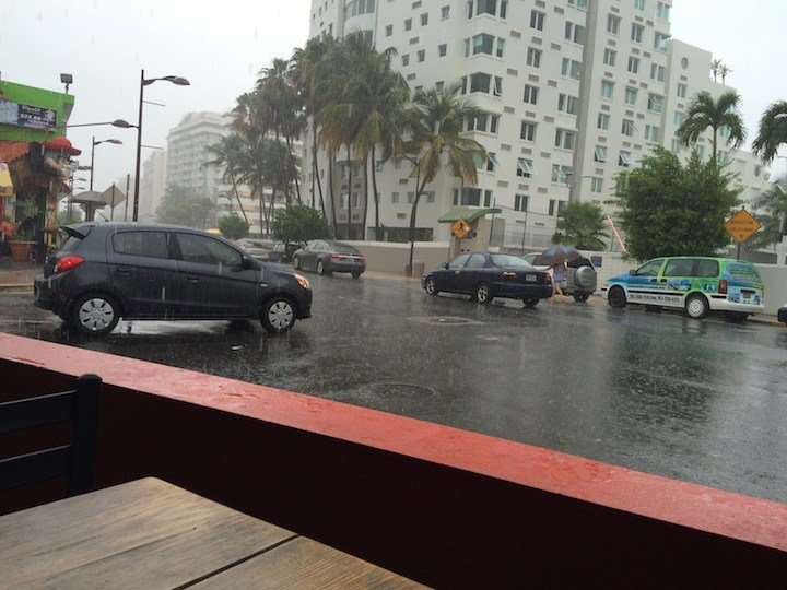 Rain comes to Puerto Rico. View from our lunch table. (WDRB photo by Eric Crawford)
