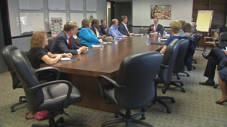 Matt Bevin met with education leaders at JCPS on Tuesday (Photo by Toni Konz, WDRB News)
