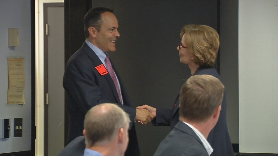 JCPS Superintendent Donna Hargens greets Matt Bevin on Tuesday (Photo by Toni Konz, WDRB News)