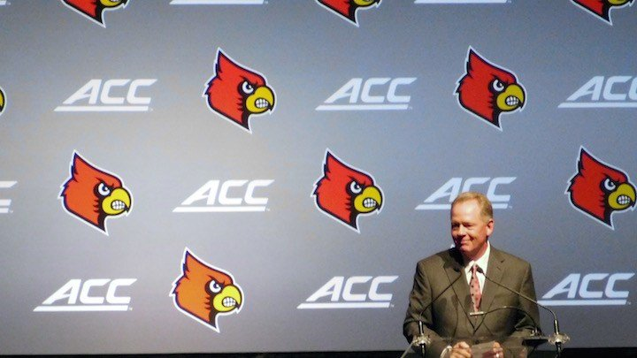 Bobby Petrino speaks at today's Louisville Football Kickoff Luncheon. (WDRB photo by Eric Crawford)