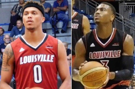 "Damion Lee, left, and Trey Lewis, say there's an ""urgency"" to their only season in Louisville. (WDRB photos by Eric Crawford)."