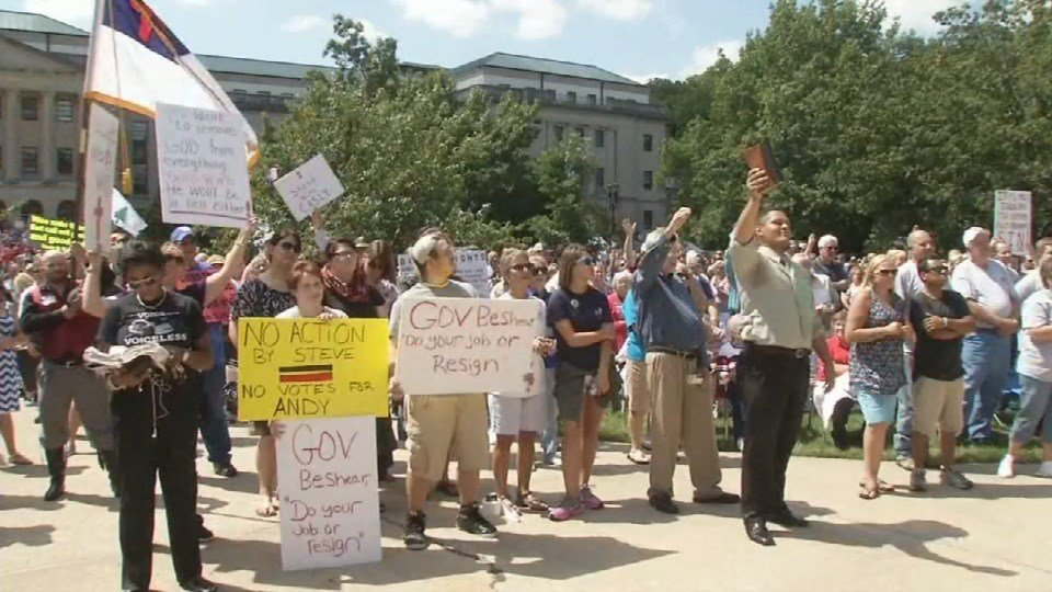 On Saturday, thousands gathered in Frankfort to support three county clerks refusing to issue marriage licenses in protest of same sex marriage.