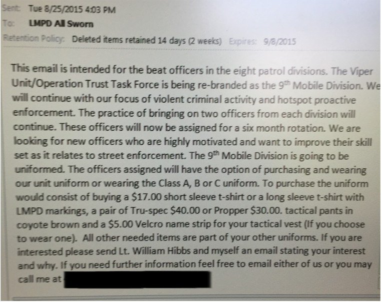 A copy of the email sent to LMPD officers alerting them to the changes in the VIPER Unit.