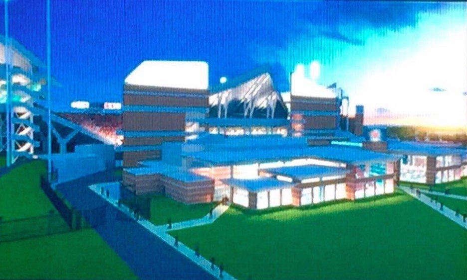 Rendering of the exterior of the north end zone expansion of Papa John's Cardinal Stadium.Twitter photo submitted by Jeff Kopple.