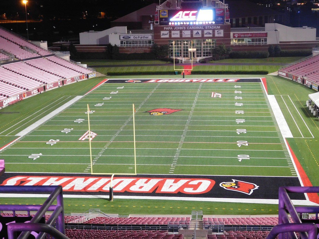 The north end zone of Papa John's Cardinal Stadium as it looks today. (WDRB photo by Eric Crawford)