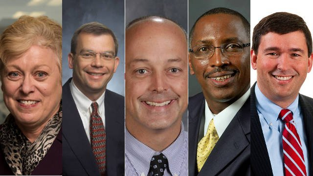 Kentucky Education Commissioner candidates from left: Kathleen Airhart, Christopher Koch, Buddy Berry, Lloyd Martin and Stephen Pruitt (Photos via Kentucky Board of Education)