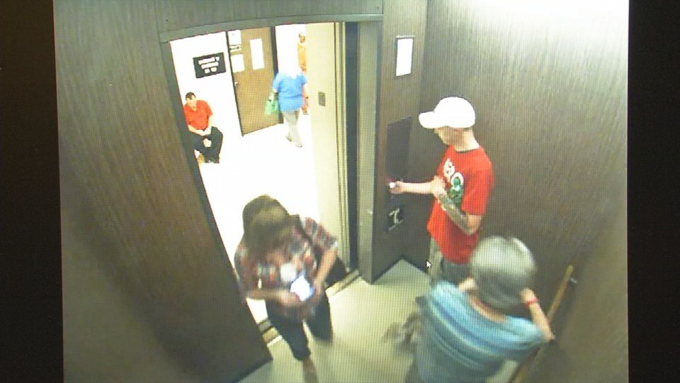 Security camera footage shows Meliss Anderson getting on the elevator, where it appears she deposits something.