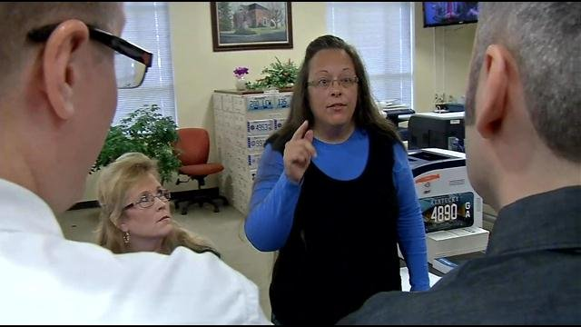 Kim Davis refuses to issue a marriage license to a gay couple the morning after the U.S. Supreme Court denied her request for an extension to continue denying marriage licenses.