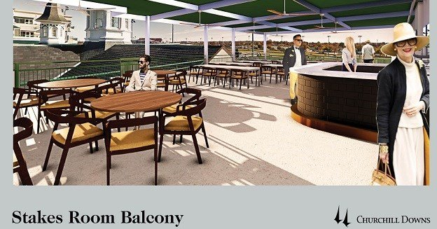 Rendering of Stakes Room Balcony at Churchill Downs