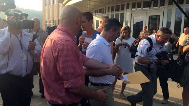 James Yates and William Smith left the courthouse with a marriage license as crowds of supporters cheered.