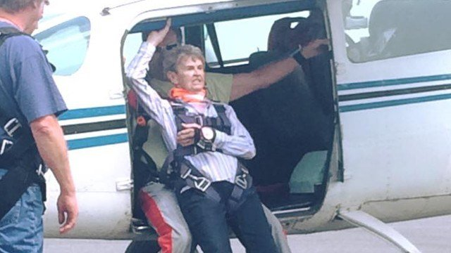 The 84-year-old grandmother from Jeffersonville, Indiana decided to jump out of a perfectly good airplane.