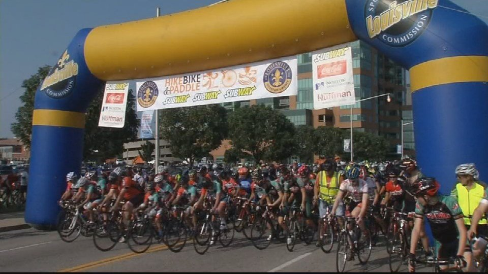 Cyclists rode a 15-mile route to Shawnee Park and back.