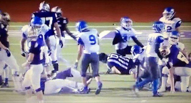 AP image. A screen shot of a Texas high school player's hit on a game official Friday night.