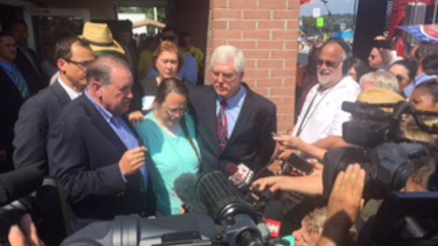 Kim Davis appears with attorney Mat Staver outside the Carter County Jail after her release.