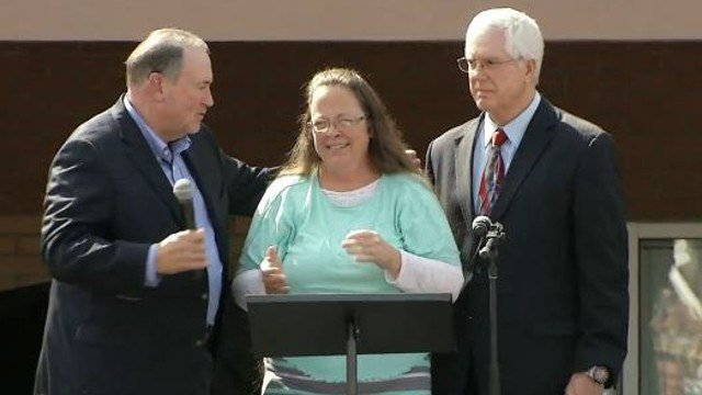 Rowan County Clerk Kim Davis, center, after her release from jail in 2015.