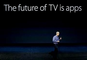 (AP Photo/Eric Risberg). Apple CEO Tim Cook discusses the Apple TV product at the Apple event in the Bill Graham Civic Auditorium in San Francisco, Wednesday, Sept. 9, 2015.