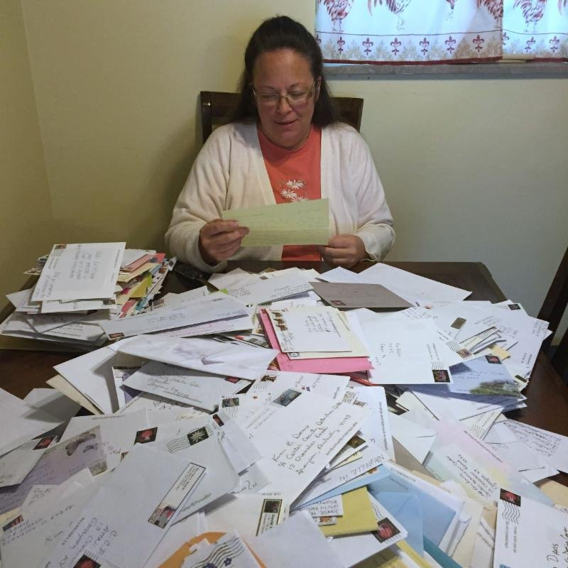Kim Davis reads letters at home. Courtesy: Liberty Counsel