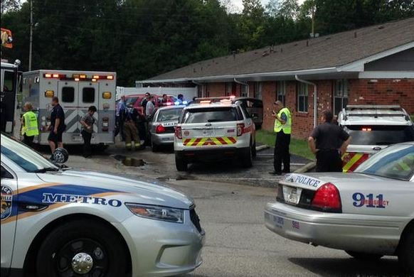 A car crashed into the Golden Living Center Hillcreek on Breckenridge Lane Thursday afternoon (Photo by Jeff Gordon, WDRB News)