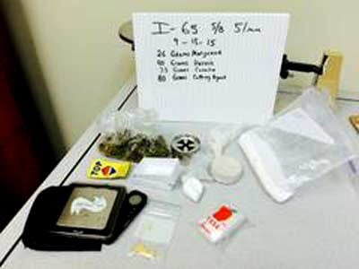 An Indiana State Trooper found marijuana, cocaine, heroin, and other controlled substances in a vehicle during a traffic stop on I-65 on Sept. 13, 2015.