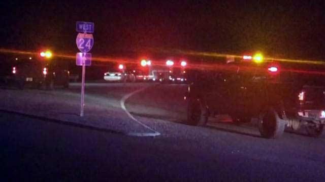 Police on the scene of the fatal KSP shooting on I-24 on September 13, 2015.