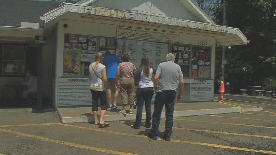 Customers line up outside Polly's Freeze in Georgetown, Indiana.