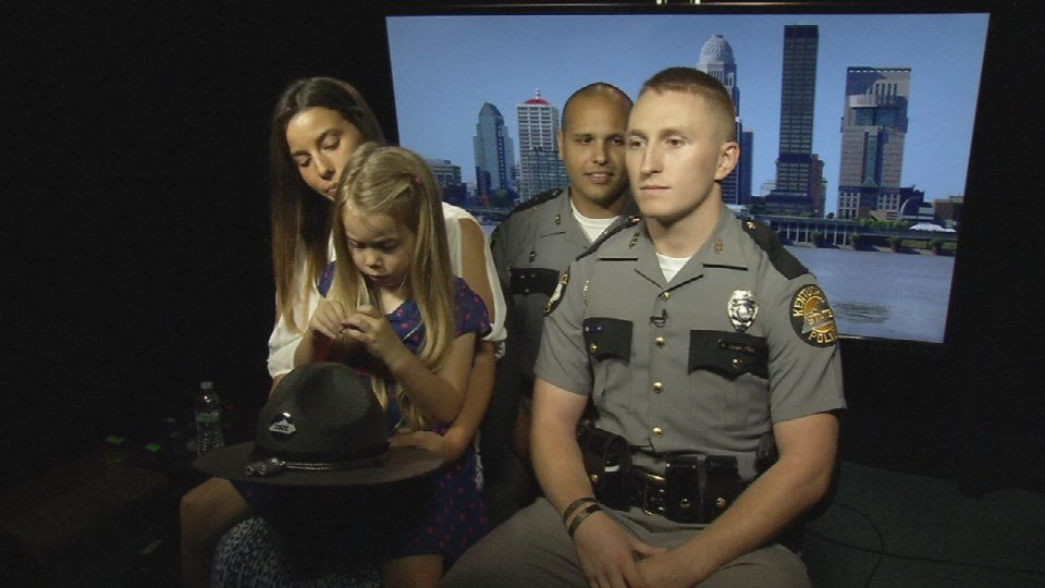 "The KSP troopers and Isabella Gregory appeared on ""Fox and Friends"" Tuesday morning (Photo by Toni Konz, WDRB News)"