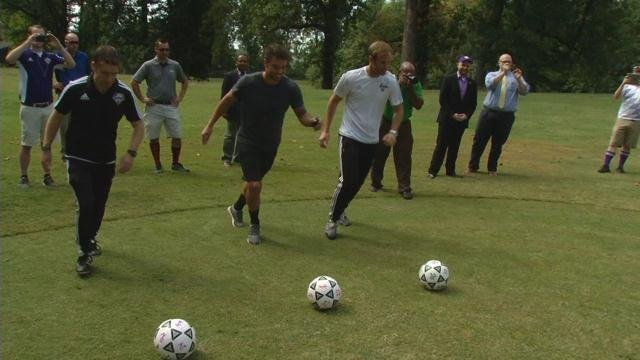Members of the Louisville City FC soccer team tried out the course Thursday, which isn't as easy as you might think.