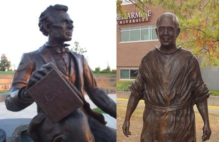 Statues of Abraham Lincoln, on the Louisville waterfront, and Thomas Merton, at Bellarmine University.