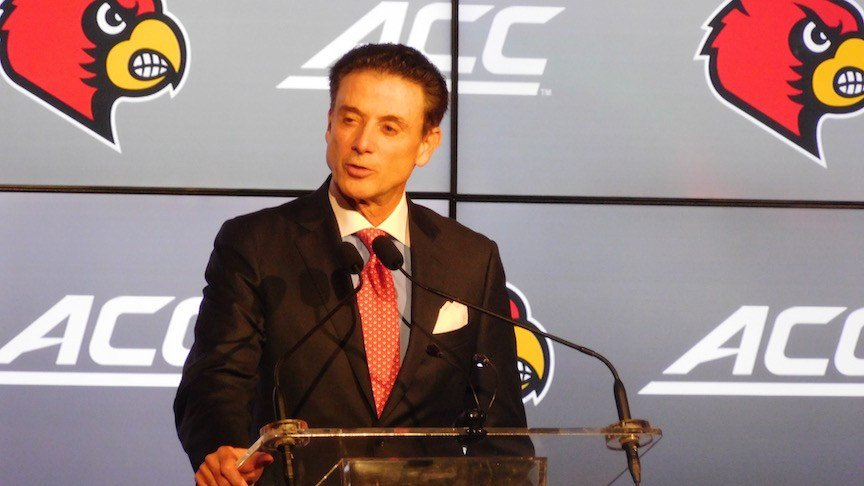 Rick Pitino spoke to about 1,200 fans at the Louisville basketball tip-off luncheon Tuesday.