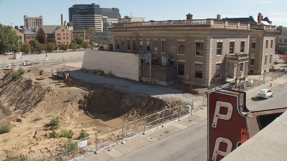 Currently, the Water Company building is the only structure left standing on the block.