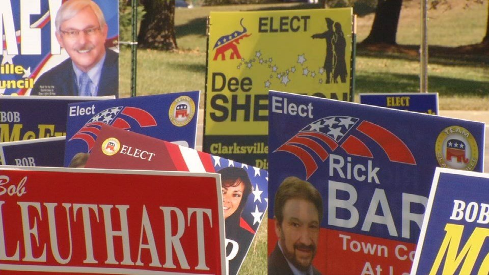 Political signs like these are disappearing from yards in Clark County, Indiana.