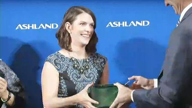 Ashley Lamb-Sinclair is the 2016 Kentucky Teacher of the Year (WDRB News photo)