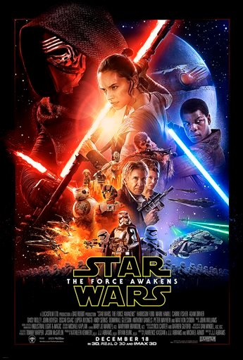 "(Disney via AP). This undated photo provided by Disney shows the poster for the new film, ""Star Wars: The Force Awakens."""