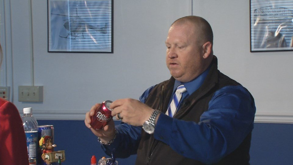 LMPD Detective Steven Healey says not only are teens finding the illegal drugs locally – they are also using fake soda cans, energy drinks, water bottles and other paraphernalia to help them hide it from family and friends (WDRB News photo)