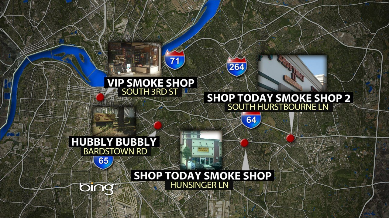 These are the smoke shops that were raided by LMPD on Oct. 13, 2015 (WDRB News graphic)