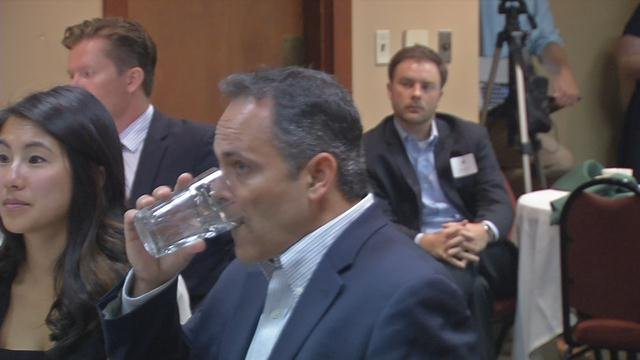 In this shot of Matt Bevin before a speech, you can see one of the trackers in the upper right corner of the photo with a camera.