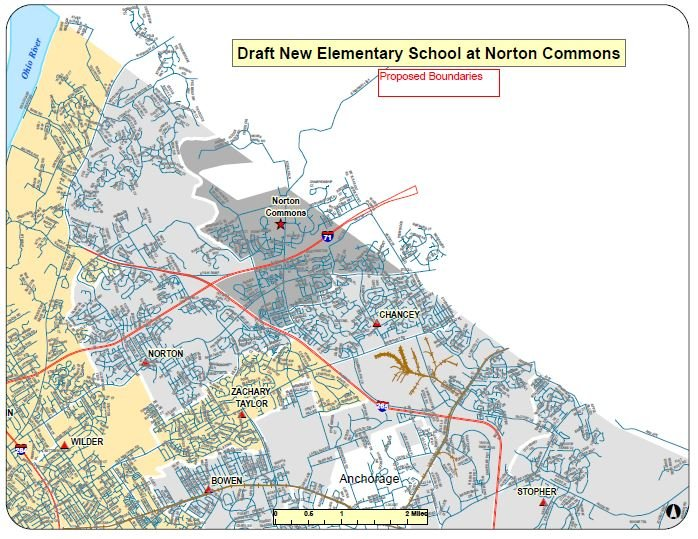 Proposed boundary change for the new elementary school (Courtesy: JCPS)