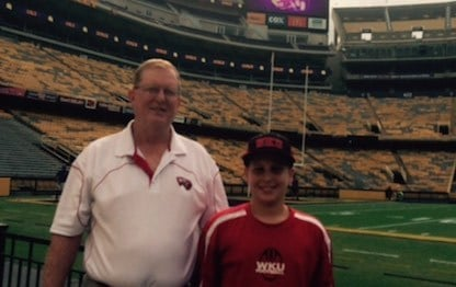 WKU coach Jeff Brohm brought his father, Oscar, and son, Brady, to LSU this weekend.