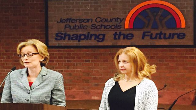 JCPS Superintendent announces Dena Dossett as new chief of data management, planning & evaluation on Oct. 26, 2015.