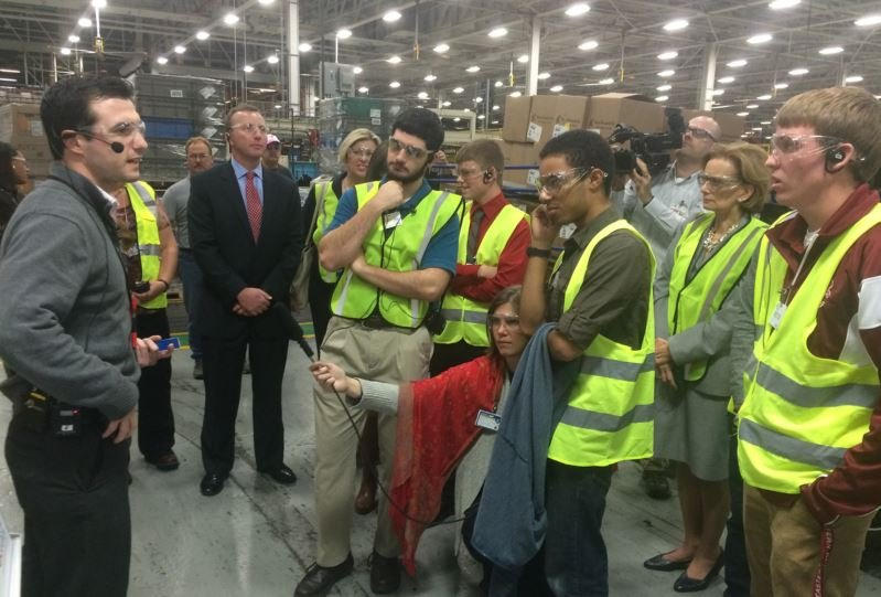 JCPS and Bullitt County students tour GE Appliance Park on Tuesday. (Photo by Toni Konz, WDRB News)