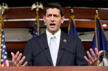 (AP Photo/Andrew Harnik). FILE - In this Oct. 20, 2015, photo, Rep. Paul Ryan, R- Wis., speaks at a news conference following a House Republican meeting on Capitol Hill in Washington.